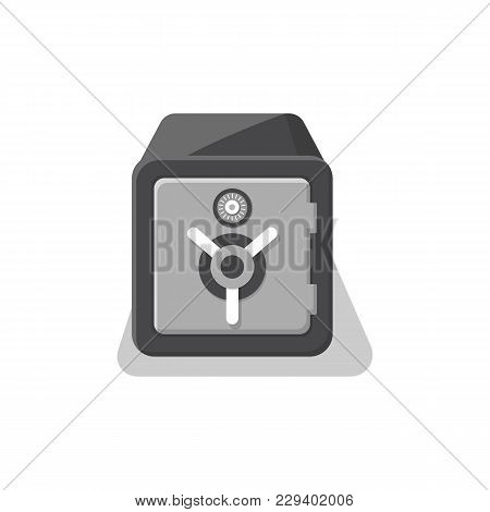 Armored Strongbox With Closed Door Icon. Money Storage, Financial Safety, Cash Security, Bank Deposi