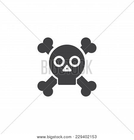 Skull With Crossed Bones Vector Icon. Filled Flat Sign For Mobile Concept And Web Design. Crossbones