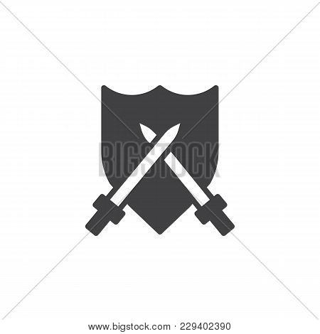 Crossed Swords And Shield Vector Icon. Filled Flat Sign For Mobile Concept And Web Design. Simple So