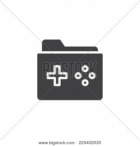 Game Folder Vector Icon. Filled Flat Sign For Mobile Concept And Web Design.  Folder With A Game Pad