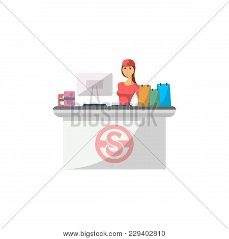 Mall Checkout Counter With Cashier Icon In Flat Style. Shopping In Supermarket, Retail And Distribut