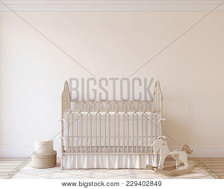 Interior Of Nursery. Interior Mockup. 3d Render.