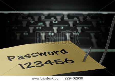 Phishing Concept. Hacker Is Stealing Password With Fishing Hook. 3d Rendered Illustration.