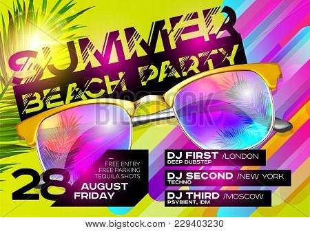 Summer Beach Party Poster For Music Festival. Electronic Music Cover Design For Summer Fest Or Dj Pa