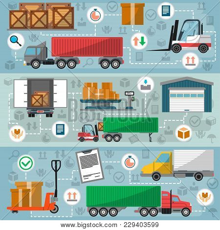 Freight Road Trucking Logistics And Management. Commercial Shipping And Goods Distribution, Freight