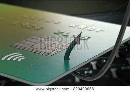 Phishing Concept. Stealing Credit Card With Fishing Hook. 3d Rendered Illustration.