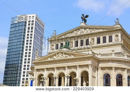 Frankfurt Am Main, Germany - 19. April 2012: Theatre (alte Oper) And Skyscraper In Frankfurt Centre.