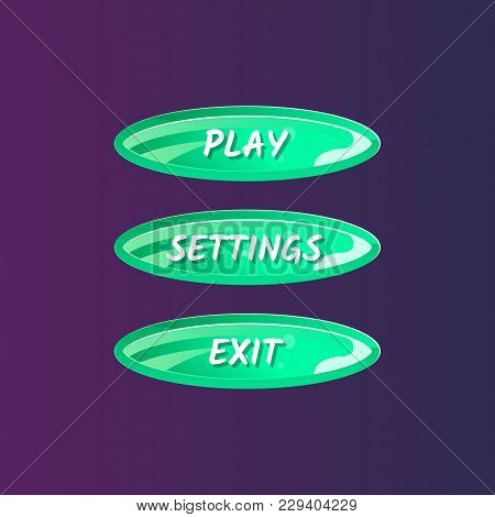 Green Oval Options Panel For User Interface. Play, Settings And Exit Cartoon Buttons. Bright Design
