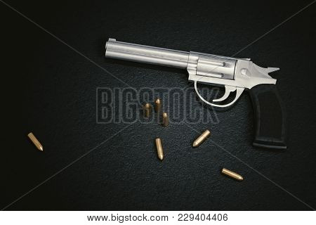Crime Scene. Gun With Many Bullets On Black Leather Background. 3d Rendered Illustration.
