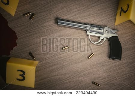 Crime Scene. Investigation Of Murder. Gun And Bullets On Wooden Floor With Yellow Markers. 3d Render