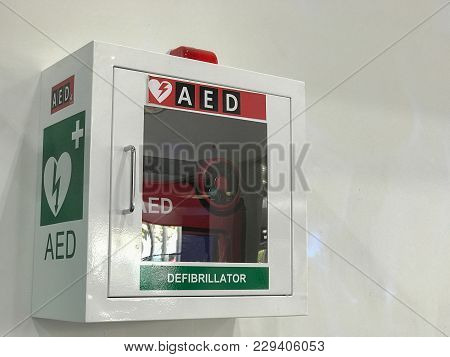Aed & Cpr Rescue Kits Box In The Airport