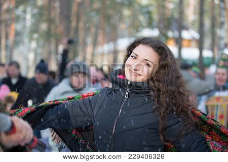 Belarus, Gomel, February 18, 2018. Russian Holiday Seeing Off Winter Maslenitsa.beautiful Brown-eyed