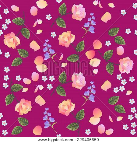 Retro Seamless Floral Pattern With Pink And Light Orange Roses, Forget Me Not And Bell Flowers, Isol