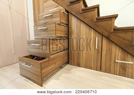 Modern Architecture Interior With  Luxury Hallway With Glossy Wooden Stairs In Modern Storey House.
