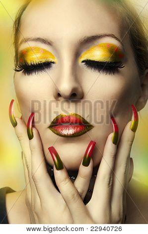 Fashion Portrait Of Cute Woman Face. Model