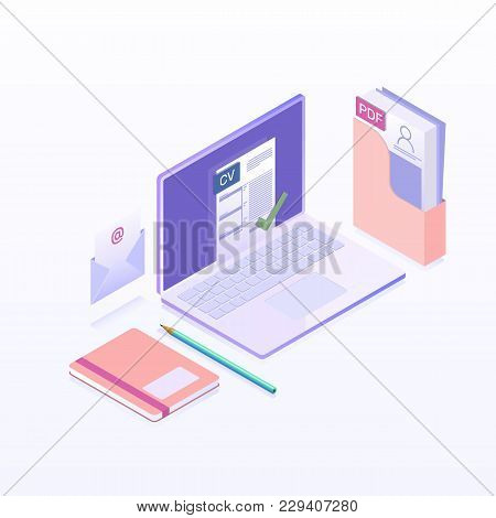 Searching Professional Staff, Work, Analyzing Resume. Job Interview And Recruitment Business Concept
