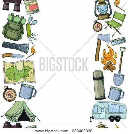 Seamless Vertical Borders Of Travel Equipment. Accessories For Camping And Camps. Colorful Sketch Ca