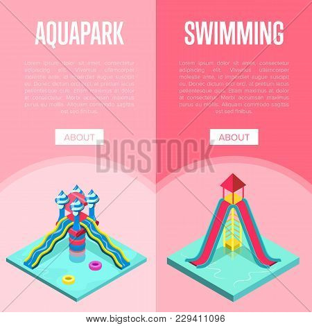 Aquapark Waterslides Isometric Vertical Flyers With Plastic Water Tubes In Pool. Funny Relax And Act
