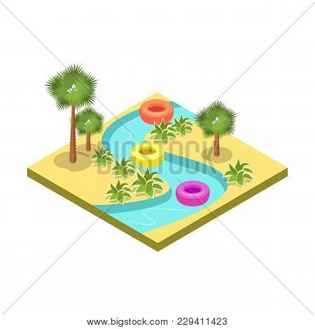 Kids Water Park Attraction Isometric 3d Element. Outdoor Funny Relax And Activity, Summertime Family