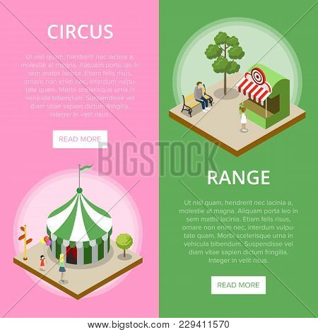 Amusement Park Isometric Vertical Flyers With Striped Circus Tent And Shooting Gallery. Funfair Carn