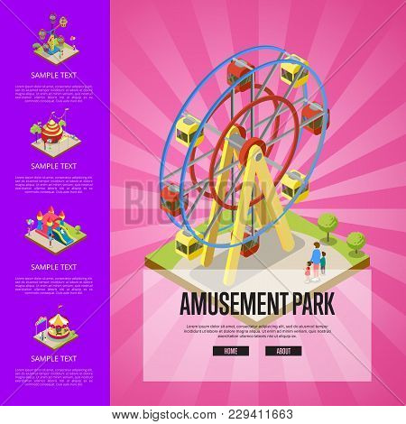 Amusement Park Banner With Merry Go Round Carousel, Circus Tents, Air Slides And Ferris Wheel. Funfa