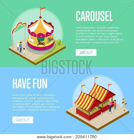 Amusement Park Isometric Horizontal Flyers With Merry Go Round Carousel And Striped Tents. Funfair C
