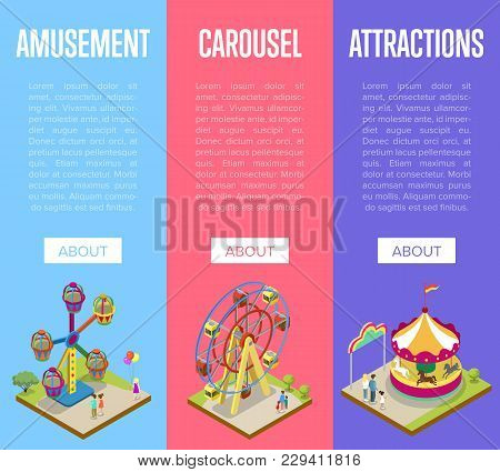 Amusement Park Isometric Vertical Flyers With Merry Go Round Carousel And Ferris Wheel. Funfair Carn