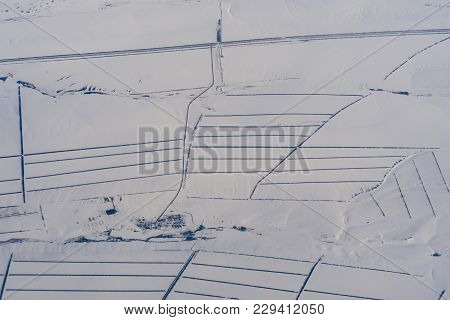Aerial Photography Of Roads In Siberia In The Snow