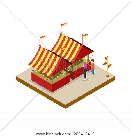 Amusement Park Tents Isometric 3d Element. Family Active Vacation And Entertainment Vector Illustrat