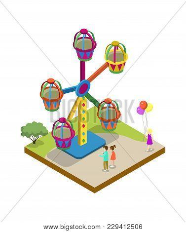 Amusement Park Carousel Isometric 3d Element. Attraction Architecture And Entertainment, Family Rest