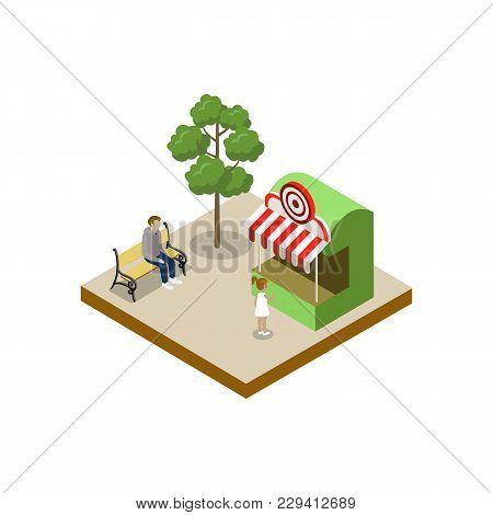 Shooting Gallery Isometric 3d Element. Amusement Park Architecture And Entertainment, Family Rest Ve