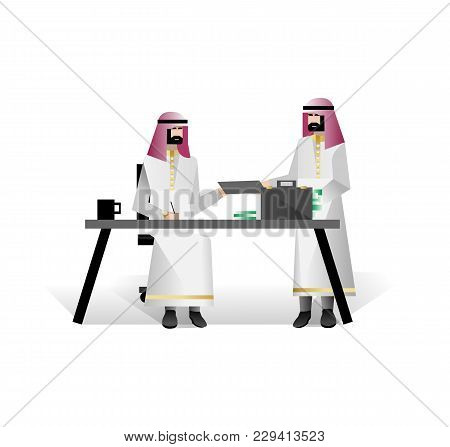Bearded Arabic Businessmen Conclude A Contract In Office. Corporate Business People Isolated Vector