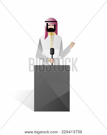 Bearded Arabic Businessman Speech On Tribune. Corporate Business People Isolated Vector Illustration