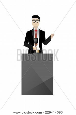 Asian Businessman In Glasses Speech On Tribune. Corporate Business People Isolated Vector Illustrati