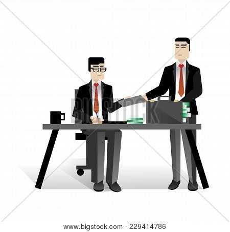 Asian Businessmen Conclude A Contract In Office. Corporate Business People Isolated Vector Illustrat