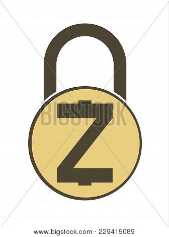 Electronic Security Lock Of Zcash ,vector Icon.   Vector Disign, Concept  Vector Disign.