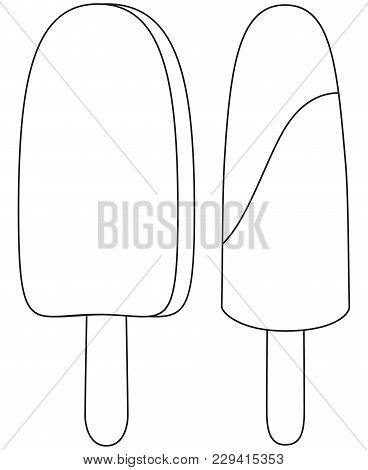 Black And White Icon Fruit Chocolate Ice Cream Popsicle Set. Coloring Book Page For Adults And Kids.