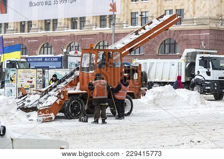 Kharkov, Ukraine- 1 March 2018: Cleaning Of The Streets Of The City By Residents And Public Utilitie