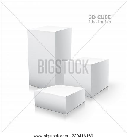 Three Vector 3d Cubes Isolated On White Background. Boxwes Illustration.