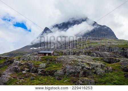 Mountains Near The Trollstigen. Trollstigen Or Trolls Path Is A Serpentine Mountain Road In Rauma Mu