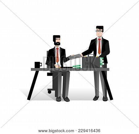 European Businessmen Conclude A Contract In Office. Corporate Business People Isolated Vector Illust