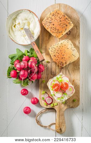 Fresh Sandwich With Crunchy Bread, Fromage Cheese And Radish