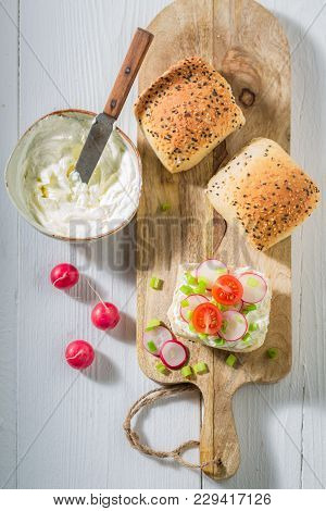 Healthy Sandwich With Radish, Creamy Cheese And Tomatoes