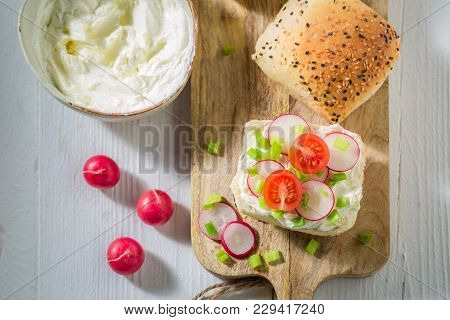 Bio Sandwich With Crunchy Bread, Fromage Cheese And Radish