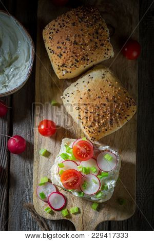 Fresh Sandwich With Fromage Cheese And Cherry Tomatoes