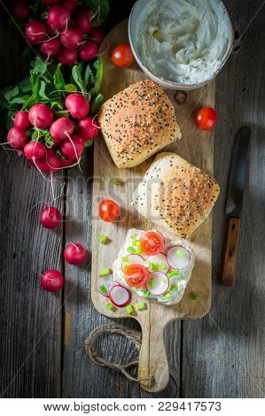 Bio Sandwich With Radish, Creamy Cheese And Tomatoes
