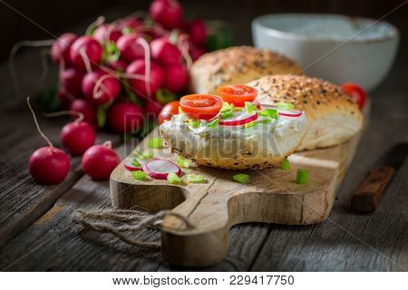 Spring Sandwich With Fromage Cheese And Cherry Tomatoes