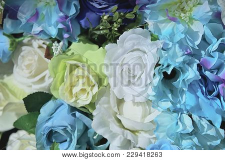 Artificial Colorful Of Rose Flower Decor Background For Text Message.