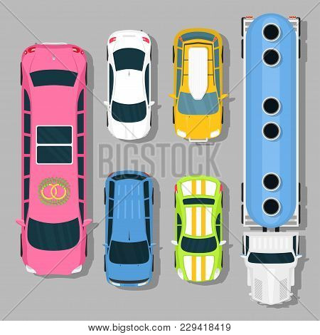 Top View Colorful Car Toys Different Pickup Automobile Transport Wheel Transportation Auto Design Ve
