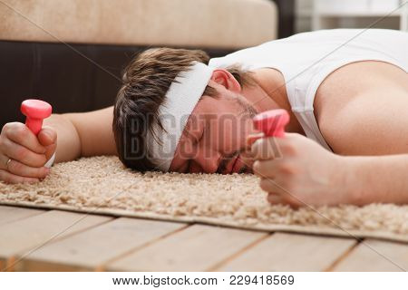 A Young Man Was Engaged In Fitness At Home Tired And Fell Asleep Recovered After An Intense Load For